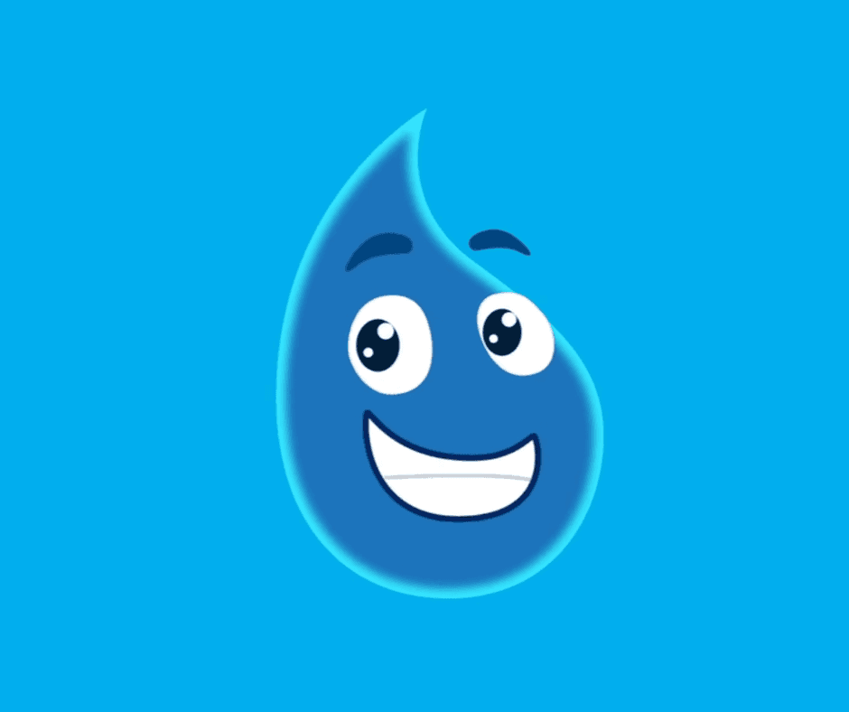Smiling animated water drop